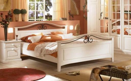Bett 160 x 200cm Sandra im Landhausstil weiss Pinie teilmassiv