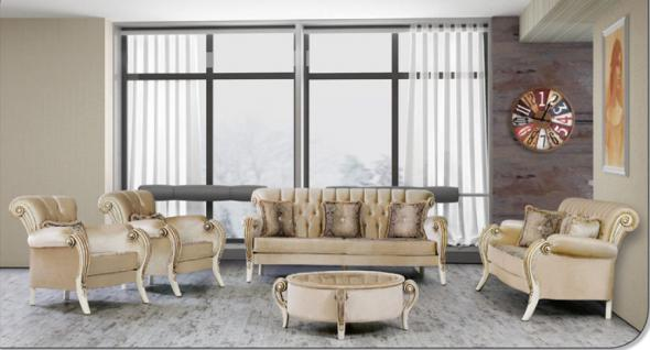 Sitzgruppe Kübranur beige Klassik Barockstil Orient