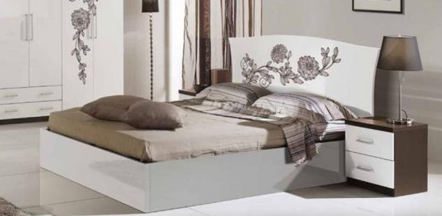 Bett 160 x 200 cm Gina Blumenmuster weiß