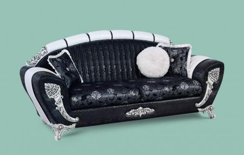 Couch Mirac 3er schwarz weiss Klassik Barockstil Orient