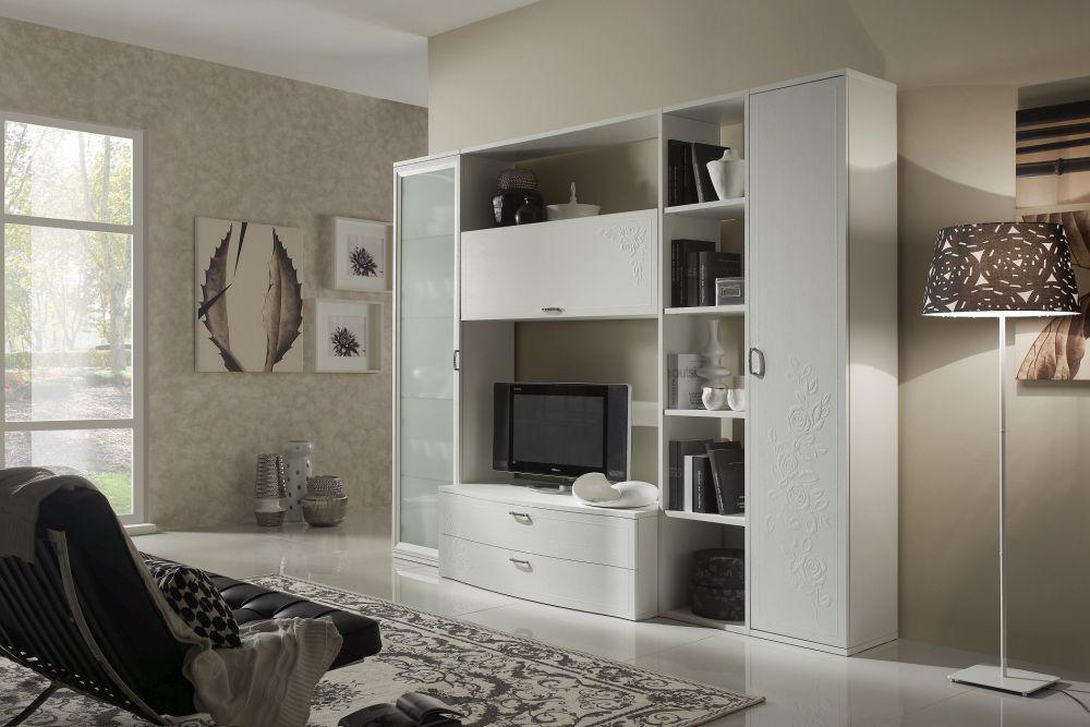 wohnwand chana mit tv lowboard regal vitrine weiss creme. Black Bedroom Furniture Sets. Home Design Ideas