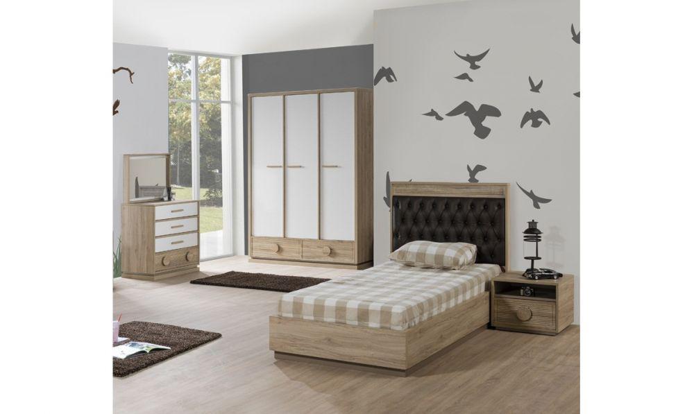 Kinderzimmer alfa bett 90x200 cm natur braun weiss for Kinderzimmer ohne bett