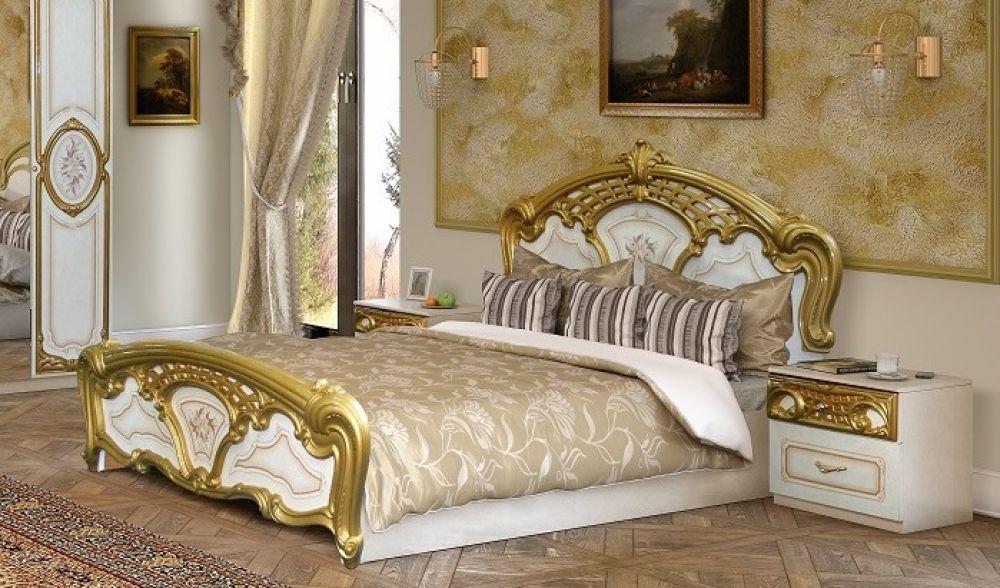 schlafzimmer rozza in weiß gold klassisch 160x200 cm barock, Wohnzimmer design