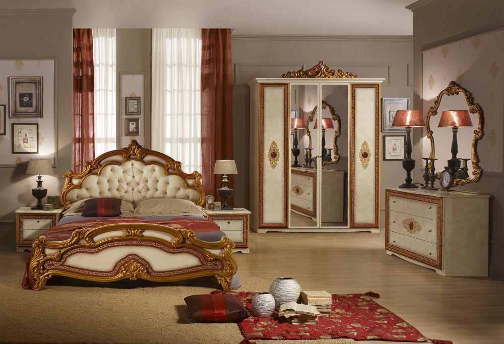schlafzimmer silvia in beige gold creme klassik barock 180x200 c ... - Schlafzimmer Creme Beige