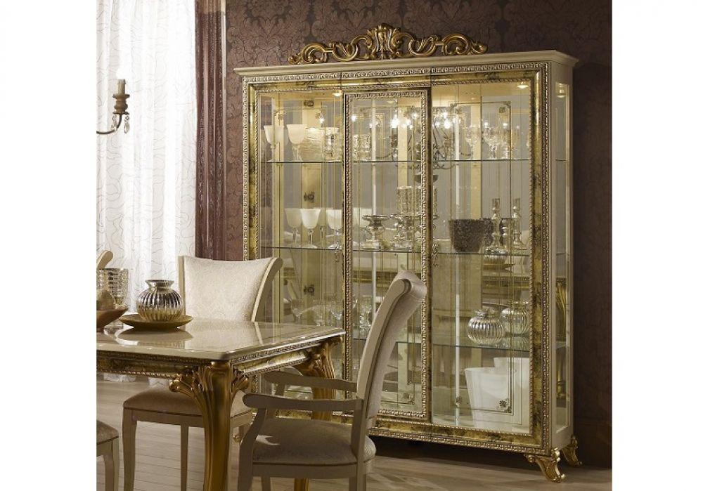 vitrine 3trg karla beige gold italien luxus f r wohnzimmer kaufen bei kapa m bel. Black Bedroom Furniture Sets. Home Design Ideas