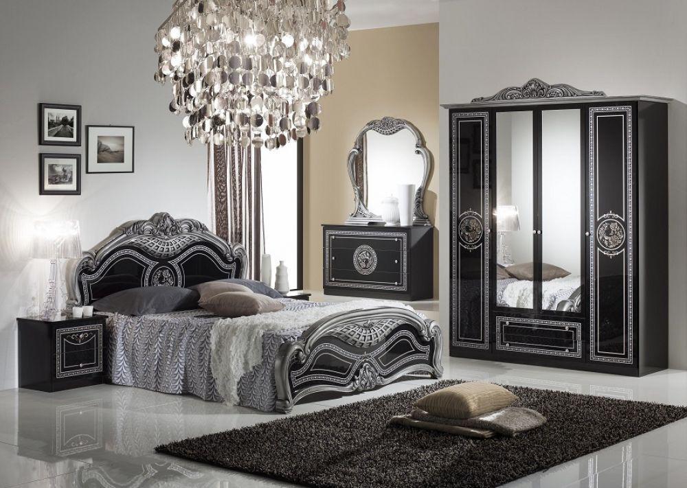 kommode mit spiegel liara in schwarz silber klassisch. Black Bedroom Furniture Sets. Home Design Ideas