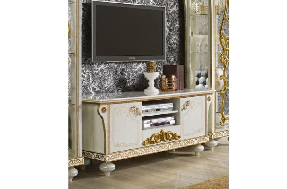 Tv Unterschrank Desere Weiss Gold Luxus Wohnzimmer Kaufen Bei