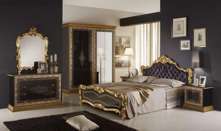 Schlafzimmer jenny 160x200 cm in schwarz gold black luxus edel z kaufen bei kapa m bel - Schlafzimmer edel ...