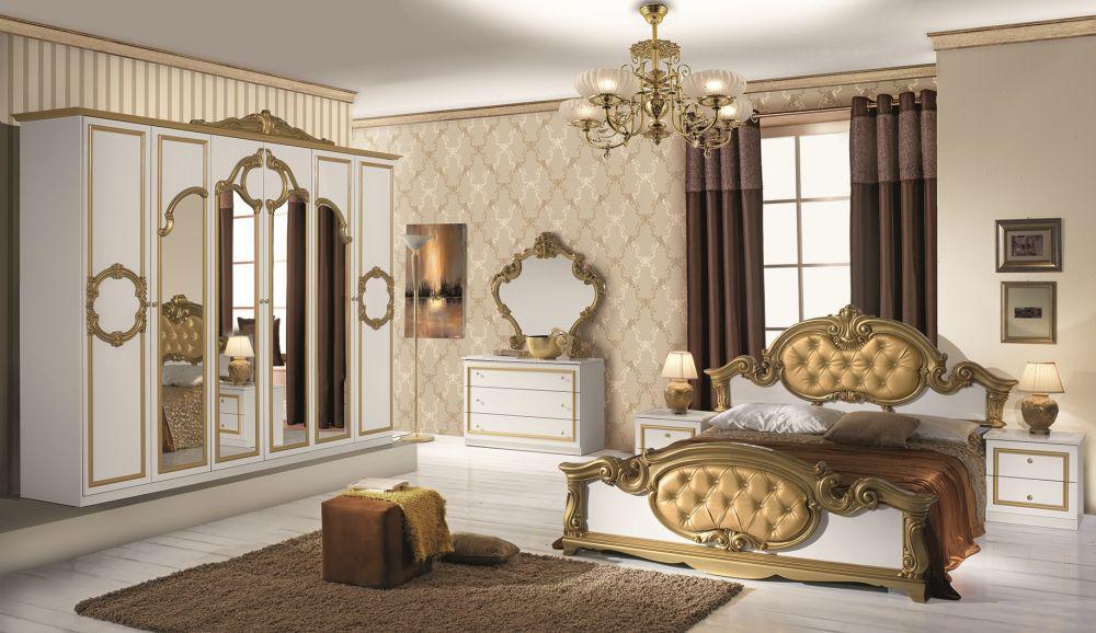 bett 160x200 barocco in weiss gold klassik barock kaufen. Black Bedroom Furniture Sets. Home Design Ideas