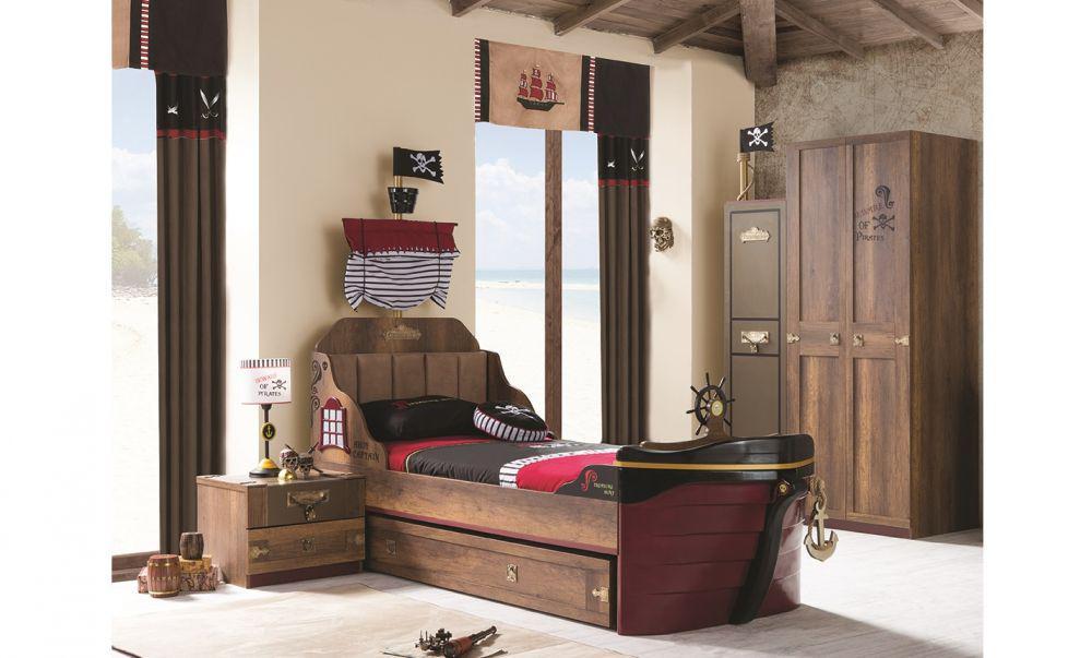 kinderzimmer korsan pirat in braun schiffsbett. Black Bedroom Furniture Sets. Home Design Ideas