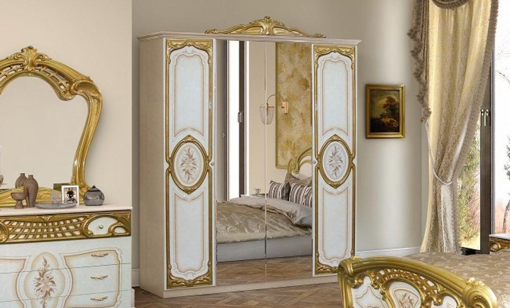 Schlafzimmer Rozza In Weiß Gold Klassisch 160x200 Cm Barock, Moderne Deko