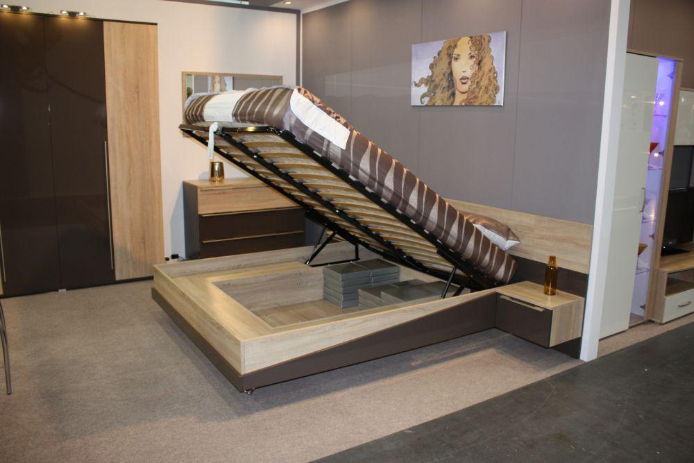 bett mit stauraum tera 160 x 200 in eiche braun mit led kaufen bei kapa m bel. Black Bedroom Furniture Sets. Home Design Ideas