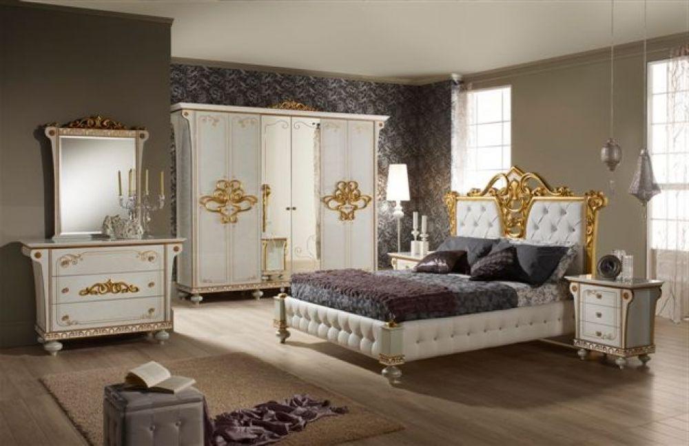 bett 160x200 cm desere weiss gold luxus schlafzimmer - kaufen bei ... - Luxus Schlafzimmer Weiss