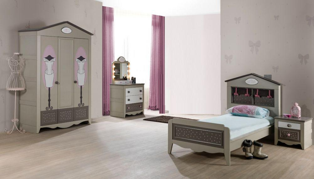 kinderzimmer houses 5 tlg braun weiss boutique schrank 3 trg dac kaufen bei kapa m bel. Black Bedroom Furniture Sets. Home Design Ideas