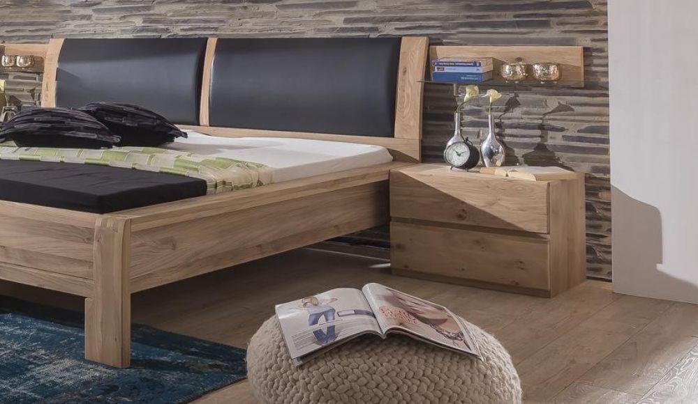 Schlafzimmer Olla Asteiche Bianco massiv Design Bett Schrank ...