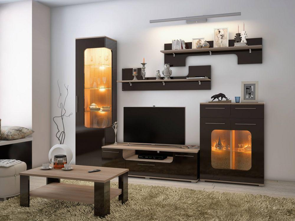 vitrine tera wohnwand in braun mit led f r wohnzimmer. Black Bedroom Furniture Sets. Home Design Ideas