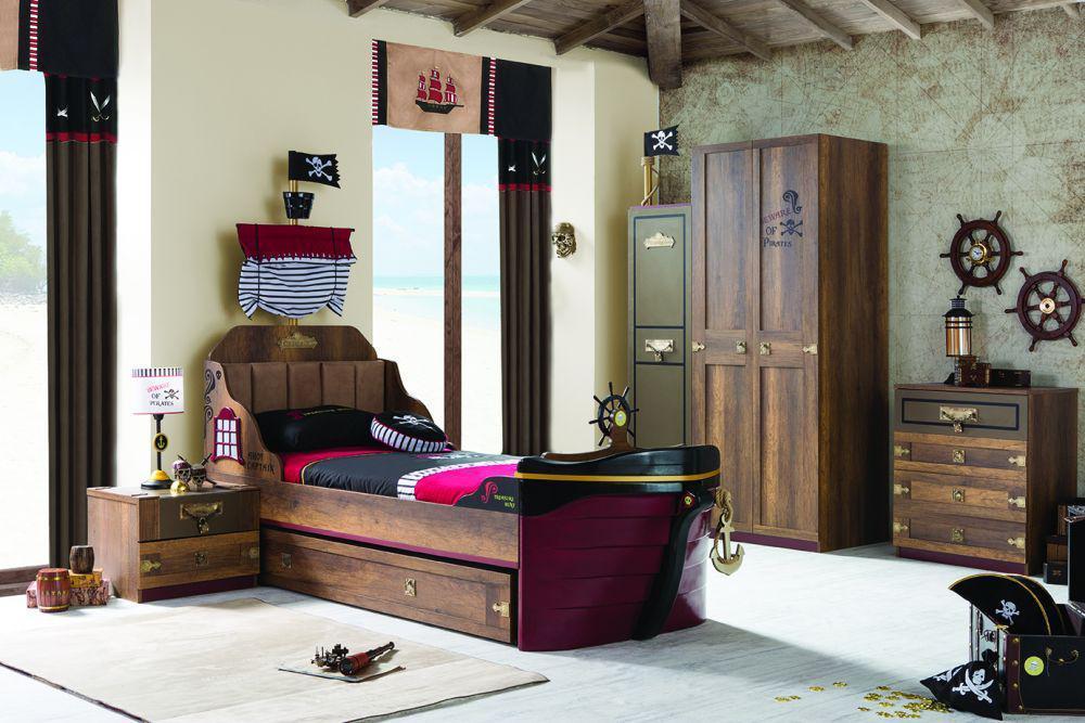 korsan pirat schreibtisch inkl aufsatz braun f r. Black Bedroom Furniture Sets. Home Design Ideas