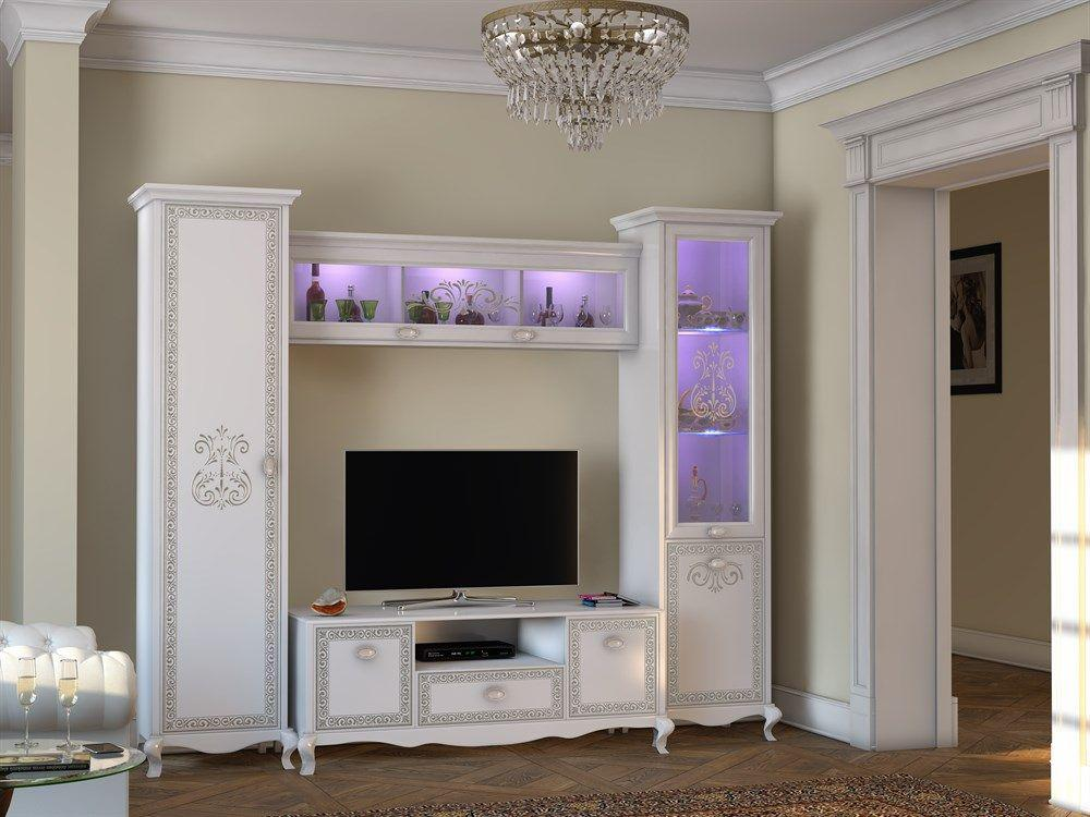 wohnwand via 4 tlg weiss creme klassik barock italienisch. Black Bedroom Furniture Sets. Home Design Ideas