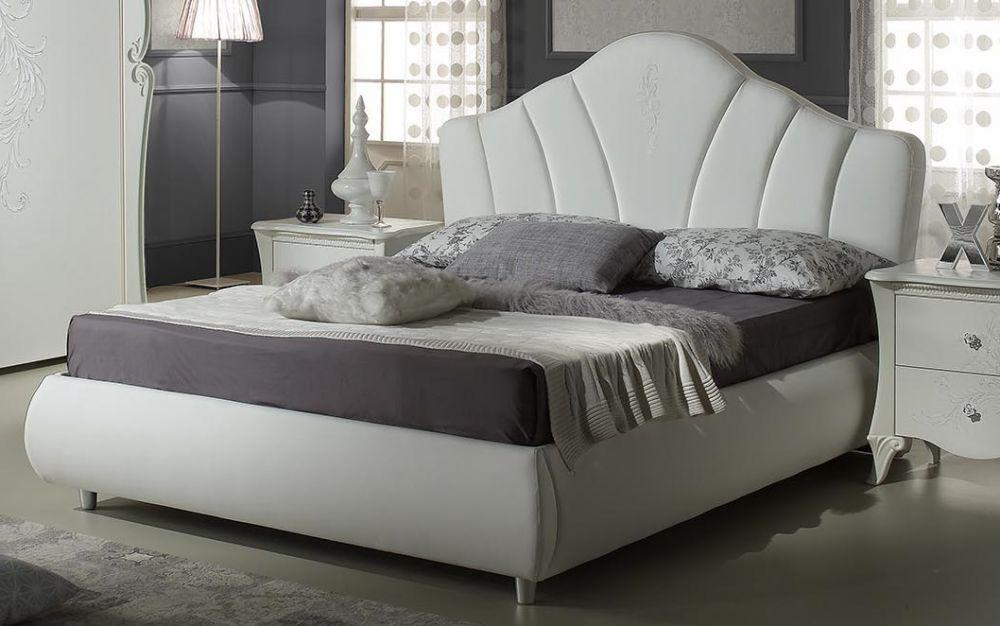 bett 160x200 cm doria in weiss elegant moderne m bel. Black Bedroom Furniture Sets. Home Design Ideas