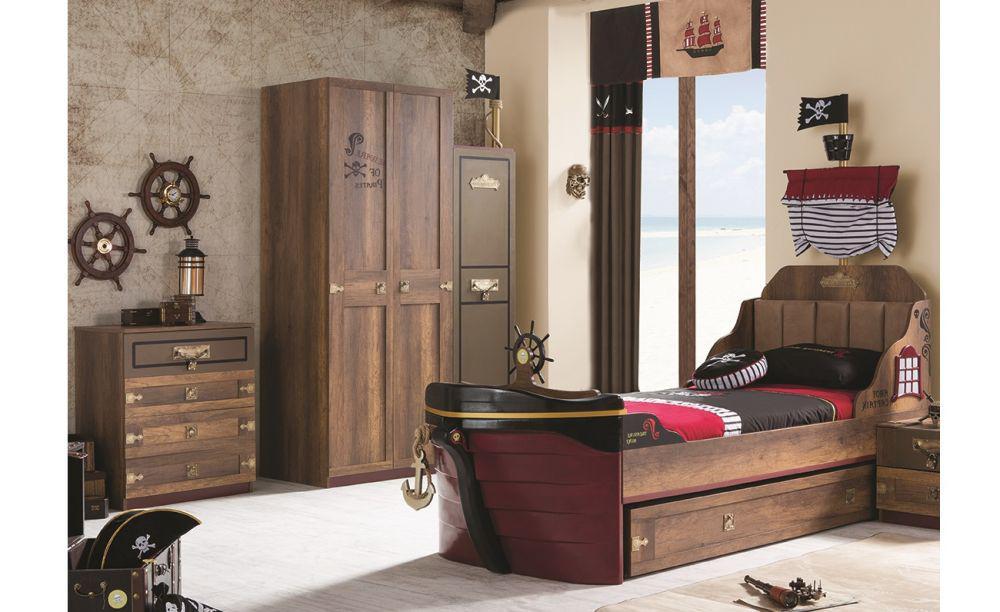 kinderzimmer korsan pirat in braun komplettzimmer 3 set kaufen bei kapa m bel. Black Bedroom Furniture Sets. Home Design Ideas