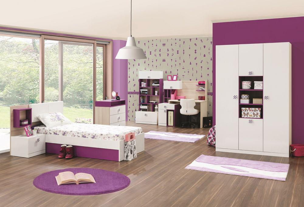m dchenzimmer trend mit stauraumbett in weiss lila kaufen bei kapa m bel. Black Bedroom Furniture Sets. Home Design Ideas