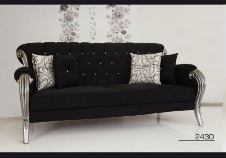 Sofa Couch Set Kübra schwarz grau Barock Wohnen Polster