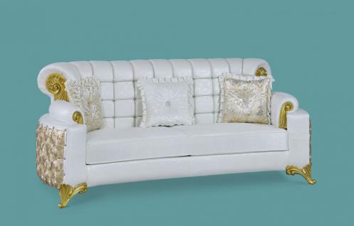 Couch Uranüs 3er weiss gold Klassik Barockstil Orient