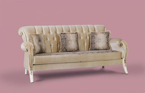 Couch Kübranur 3er beige Klassik Barockstil Orient