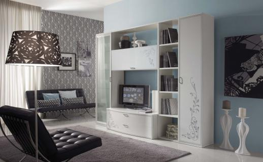 wohnwand harmony mit tv lowboard regal vitrine weiss creme matt kaufen bei kapa m bel. Black Bedroom Furniture Sets. Home Design Ideas