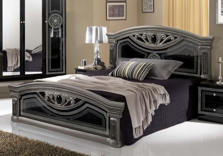 Bett 180x200 cm Giulia in schwarz silber Barock Klassik