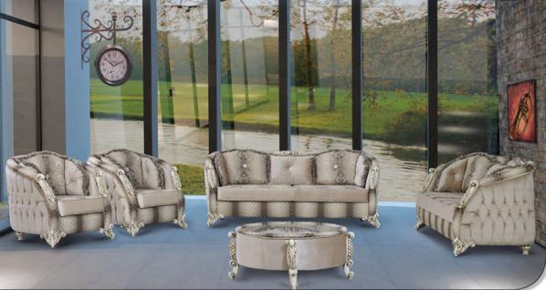 Sitzgruppe Dolunay braun beige Klassik Barockstil Orient