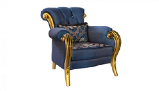 Sessel Kübranur 1er blau gold Klassik Barockstil Orient