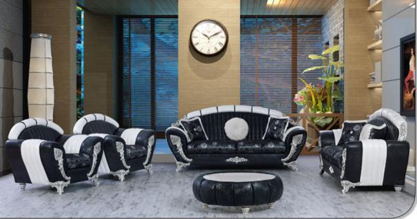 Sitzgruppe Mirac schwarz weiss Klassik Barockstil Orient