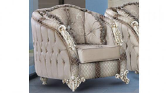 Sessel Dolunay braun beige Klassik Barockstil Orient