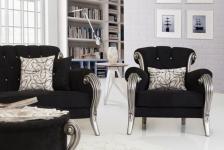 Sofa Couch Set Kübra schwarz grau Polstermöbel Sitzgarnitur