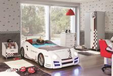 Autobettzimmer Turbo GT1 in weiss grau Kinderzimmer