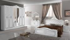 Schlafzimmer in weiss Lucy mit Krone 160x200 cm Klassik 6trg