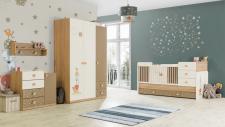 Babyzimmer Carino Bett vergrößerbar braun beige weiss Tier Stern