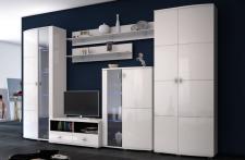 Wohnwand Monaco mini in weiß hochglanz für Wohnzimmer