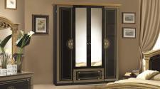 Kleiderschrank 4 türig Rana schwarz Gold Klassik Barock Italien