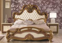 Bett 160x200 cm Agata in beige gold creme Klassik Barock