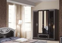 Kleiderschrank 4 türig Rana schwarz silber Klassik Barock Italie