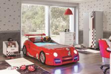Kinderzimmer Turbo GT1 mit Autobett in rot Möbel in weiss