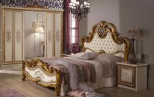 Schlafzimmer Anja beige Bett 160 Schrank 6trg Italien Barock 4tl
