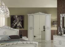 Kleiderschrank 4-trg Great weiss silber italienisch klassisch De