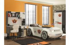 Kinderzimmer Offroad Hamer Autobett in weiss schwarz