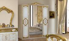 Kleiderschrank 4 türig Rozza weiß gold Italien Klassik Barock De