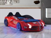 Autobett Luxury Vollversion in rot mit LED und Polsterung Kinder