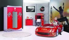 Autobettzimmer Fivex Racer Möbel in rot Kinderzimmer