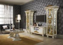 Wohnwand Desere weiss gold Luxus Wohnzimmer